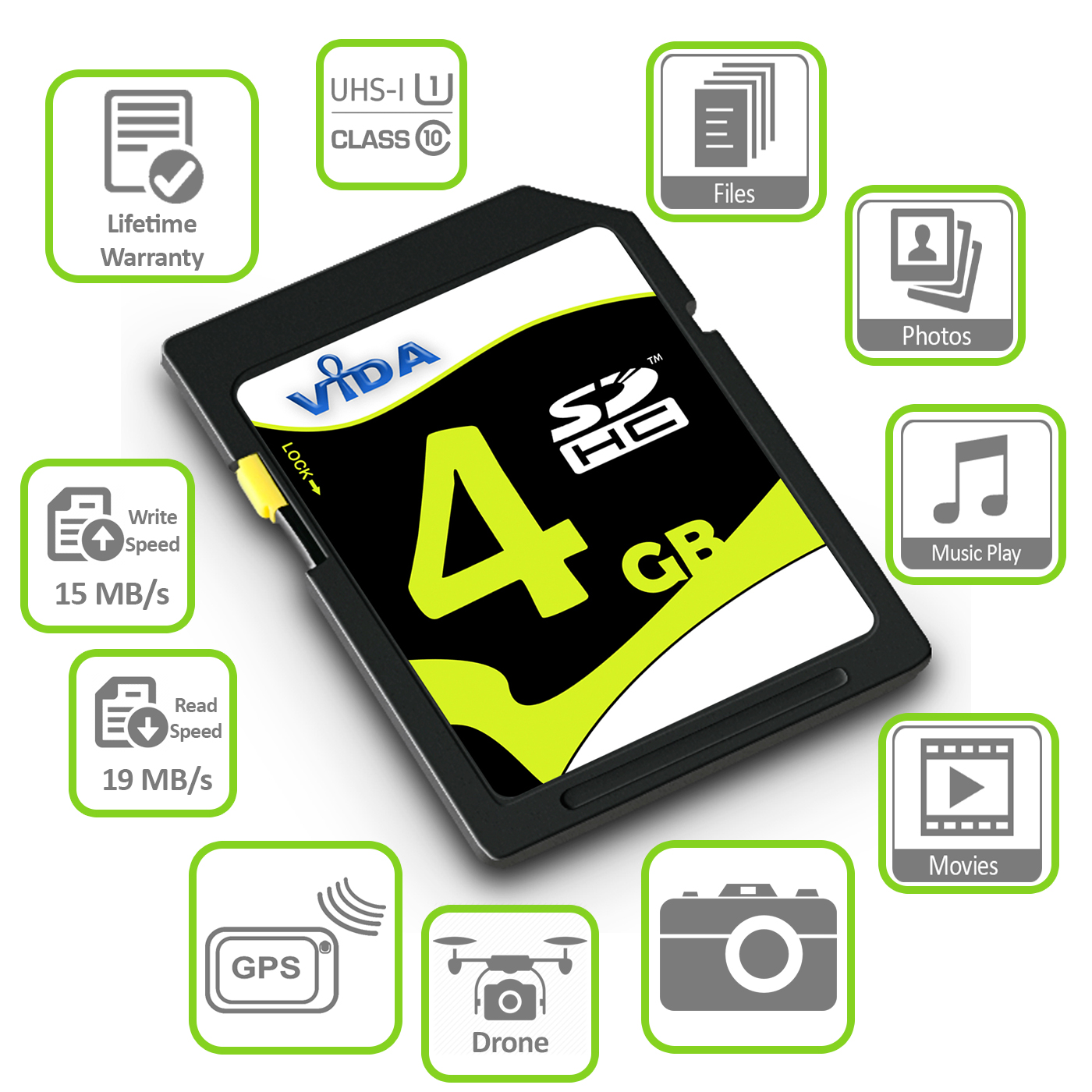 Hoch-Qualitaet-Extrem-schnelles-2GB-4GB-SD-SDHC-Speicherkarte-UHS-1-fuer-Kamera