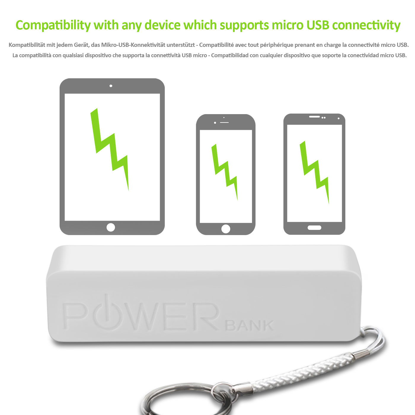 Power-Bank-Caricatore-Caricabatterie-Portatile-Portachiavi-Bianco-Per-Cellulare