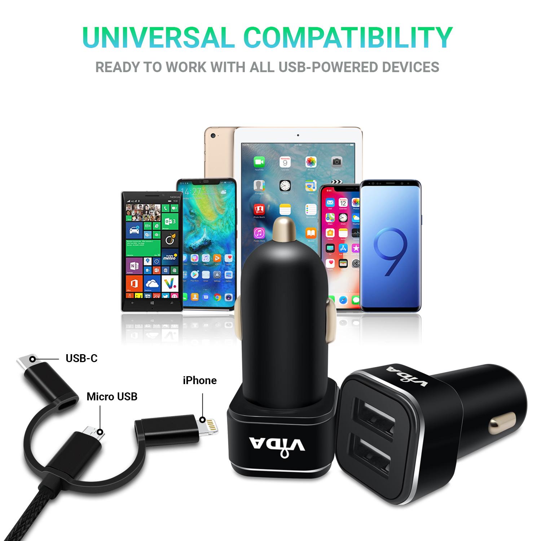 Doppio-2-Port-USB-Caricatore-Caricabatterie-per-Auto-Veloce-2-1A-Per-Cellulare