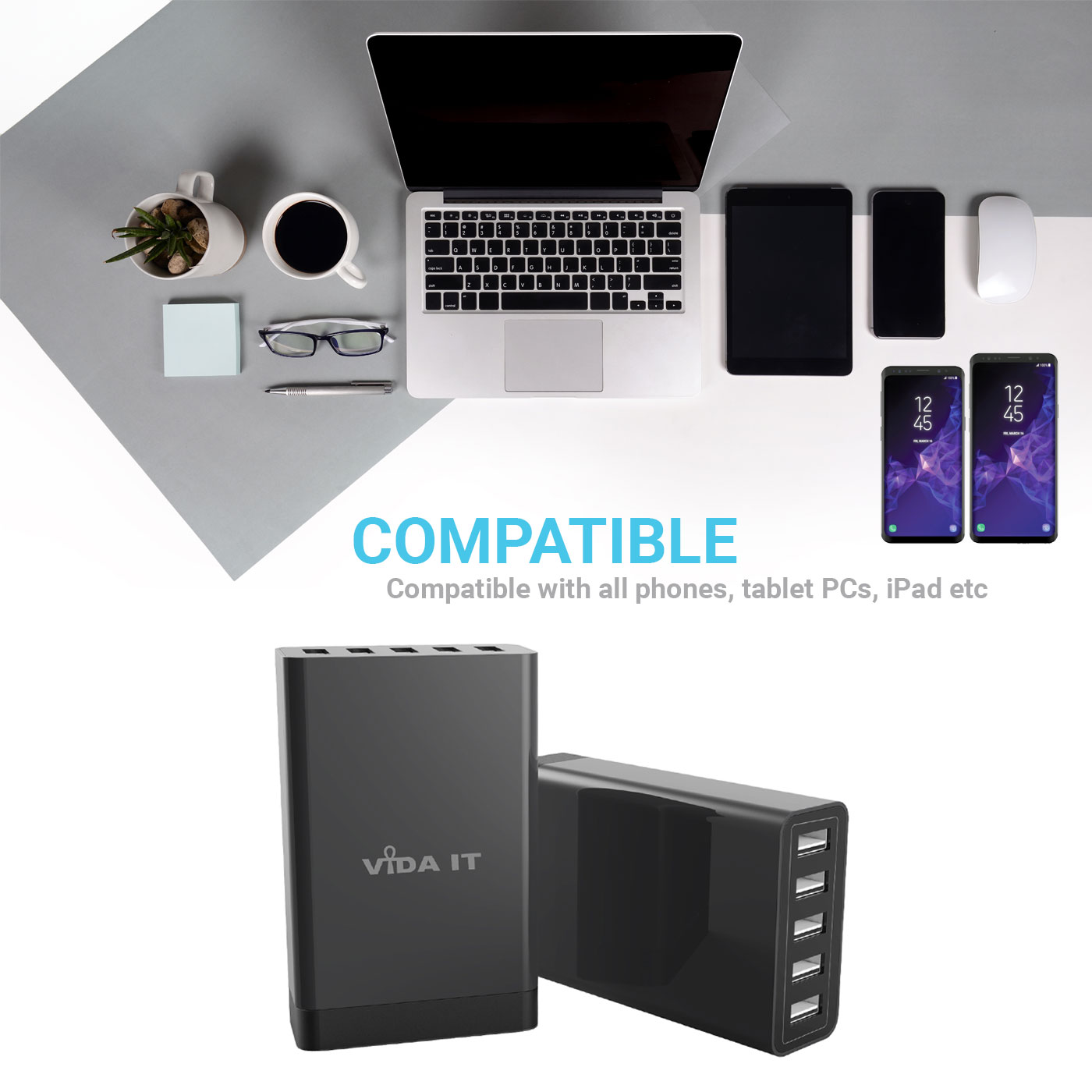 Fast-5-Port-USB-Charging-Station-MultiPort-Charger-UK-Power-Adapter-For-Phone thumbnail 4