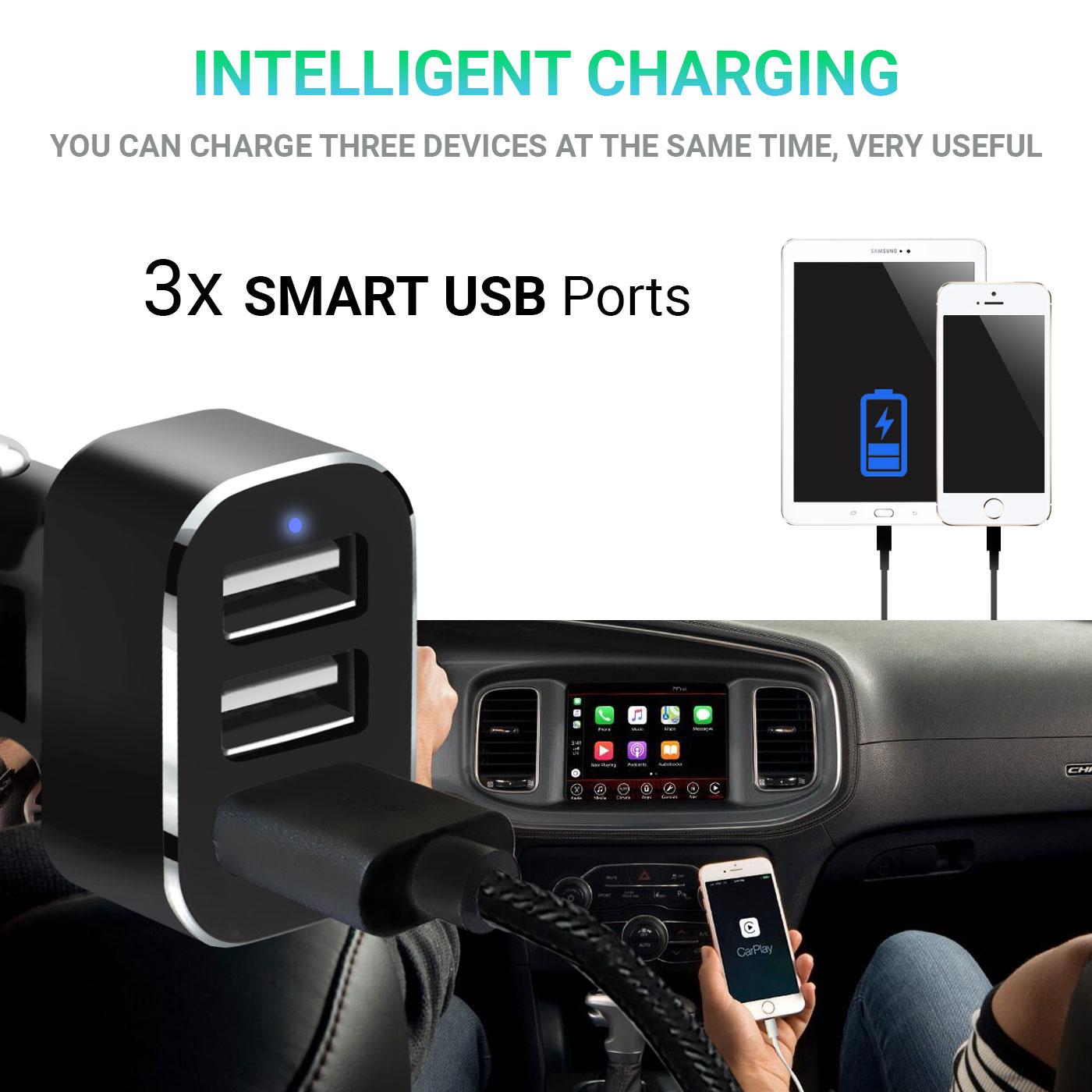 Triplo-3-Port-USB-Caricatore-Caricabatterie-per-Auto-Veloce-5-2A-Per-Cellulare miniatura 4